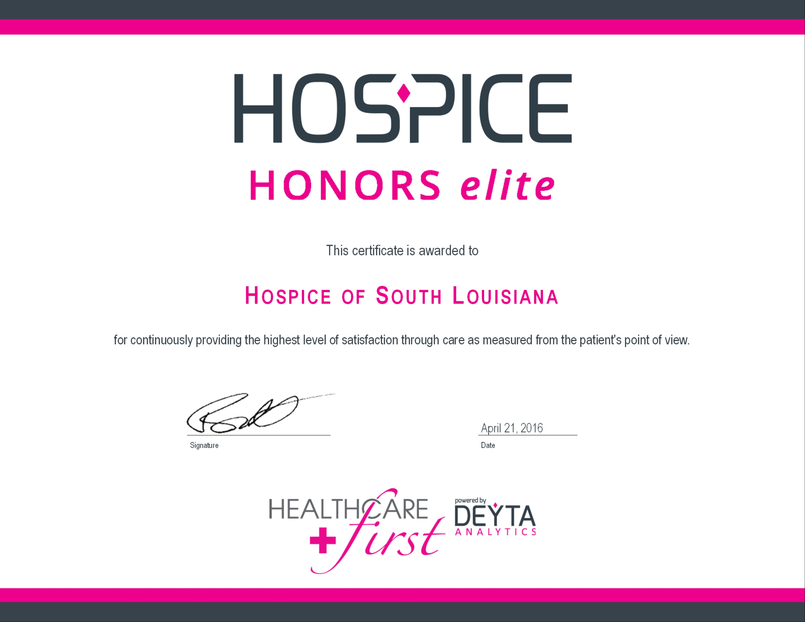Hospice of South Louisiana named 2016 Hospice Honors Recipient